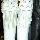 IBINKA White Leather Mocassin Fringe Thigh High Boots