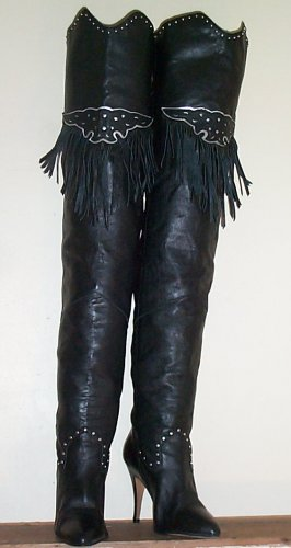 WILD PAIR Black Leather Fringe Thigh High Boots Sz 8