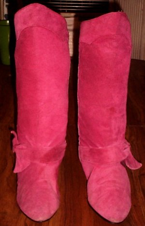 Pink Bowtie Mid High Boots