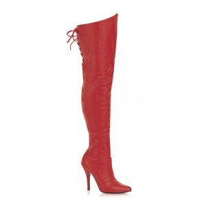 Red Leather 5 Inch Thigh Boot W/Lacing Sz 10