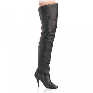 Black Leather 4 Inch Pull-On Thigh Boot Sz 6