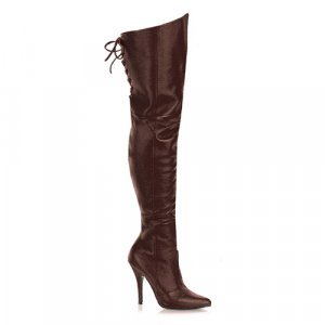 Brown Leather 5 Inch Thigh Boot W/Lacing Sz 6