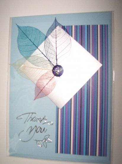 Blue leaf thank you card