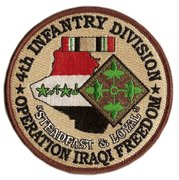 """4th Infantry Div OIF Steadfast & Loyal 4"""" Patch"""