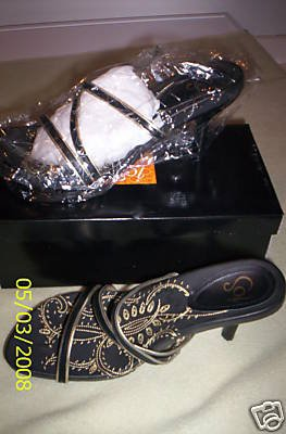 NIB Women PAZZO Tepper Sandal Slide White/Gold 7.5 MED