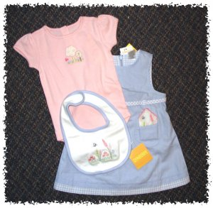 GYMBOREE Patchwork Garden 4 pieces JUMPER DRESS Set - Size 6-12 months