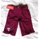 GYMBOREE Winter Princess Burgundy Sparkling ANGEL PANTS - Size 3-6 months