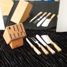 * Vintage Partial Kitchen Knife Set with Butcher Block