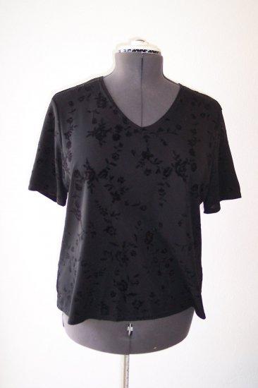 Black with velvet like flowers on fabric *