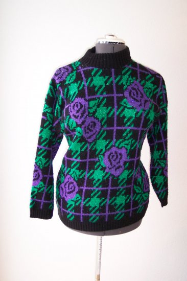 Black with purple flowers and green plaid *