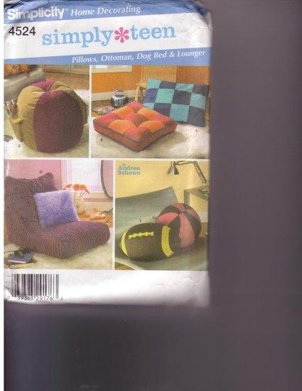 4524 Simplicity -- pillows, ottoman, dog bed, lounger, football, and ball *