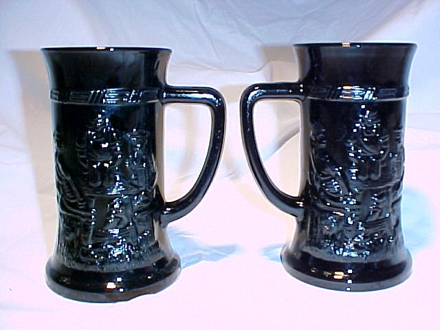 Tiara Glassware -- Black German Beer Steins (9 sets available)