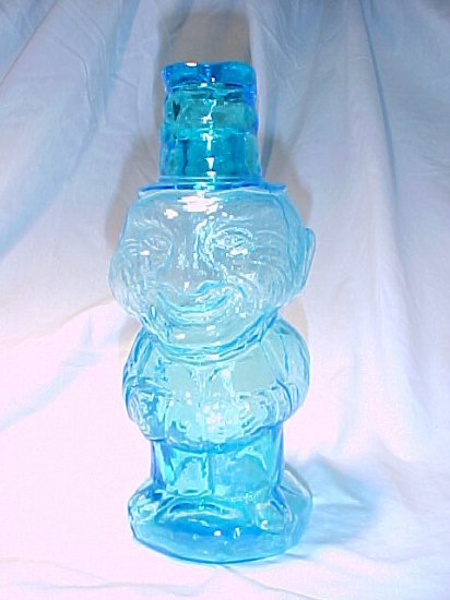 Tiara Glassware -- Bicentennial Blue Jolly Mountaineer Decanter