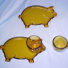 Tiara Glassware -- Little Piggy Snack Set (2 sets available)