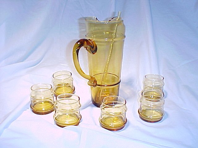 Tiara Glassware -- Amber Martini Set
