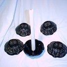 Tiara Glassware -- Black Monarch 5 candle holders