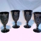 Tiara Glassware -- Black Monarch Wine Glasses PLUS Pitcher