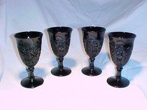 Tiara Glassware -- Black Monarch Wine Glasses PLUS Pitcher