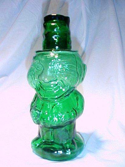 Tiara Glassware -- Teal Green Jolly Mountaineer Decanter