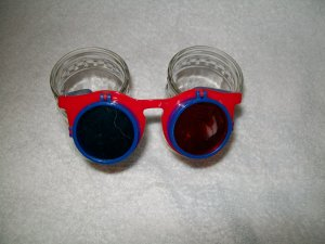 FireWorks Glasses -- Red Frame with Blue temples -- Childrens Multiple 3-D Glasses *