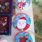 Set of 3 Hand Painted Glass Disc Ornaments