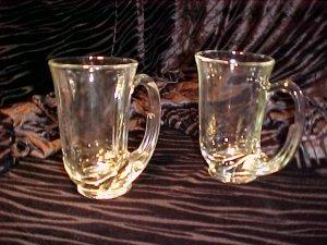Tiara Glassware -- Clear Hunter Horn Mugs set of 4
