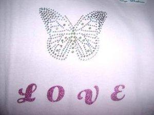 Love Butterfly Pink Tee Size Medium