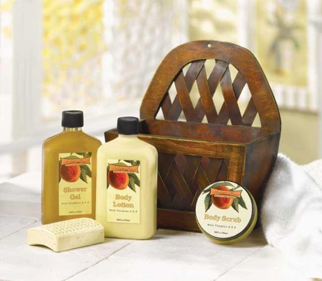 Peach Orchard Bath Basket