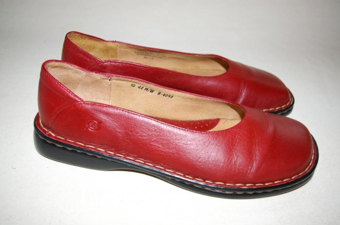 BORN ballet FLATS womens slip-ons shoes RED size 10