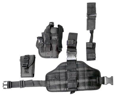 Black drop leg holster + 2 pouches