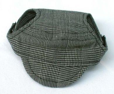 Black & White Plaid Visor Cap small dog hat