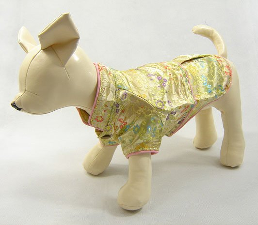 Oriental Cheong-Sam dog Dress Gold  XX-Small