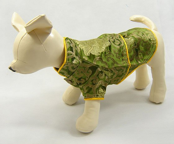 Oriental Cheong-Sam Dog Dress Olive Green Small