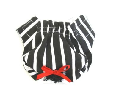 Black & White Striped  Puppy Panties /Dog Panties Large