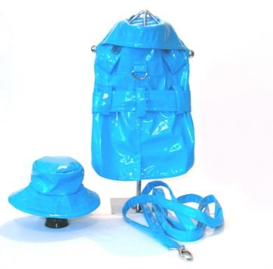 Turquoise Dog Raincoat with Hat & Leash Medium