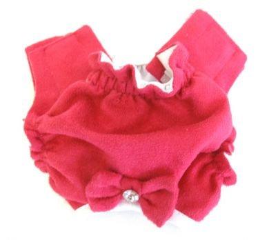 Raspberry Soft Suede Rhinestone Panties Dog Panties X Small