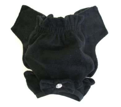 Black Soft Suede Rhinestone Panties Dog Panties XX Small