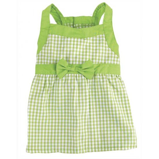 Sale East Side Collection Gingham Dog Dresses Large Parrot Green