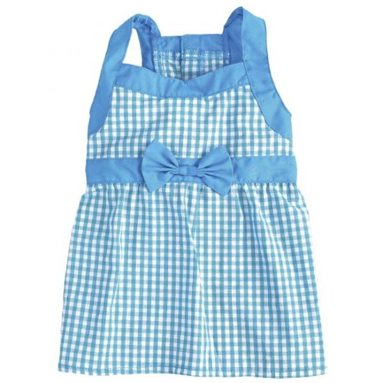 Sale East Side Collection Gingham Dog Dresses Small Bluebird