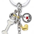 5 Charm Schnauzer Silver Plated Keychain