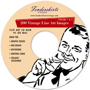 Vintage Retro Biack White Line Art Clipart Clip Art CD