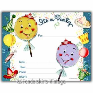 Vintage Retro Kids Lollipop Birthday Party Invitations
