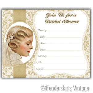 Vintage Antique Lace Wedding Bridal Shower Invitations