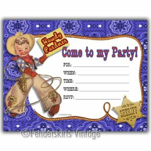 Vintage Retro Cowboy Lasso Birthday Party Invitations