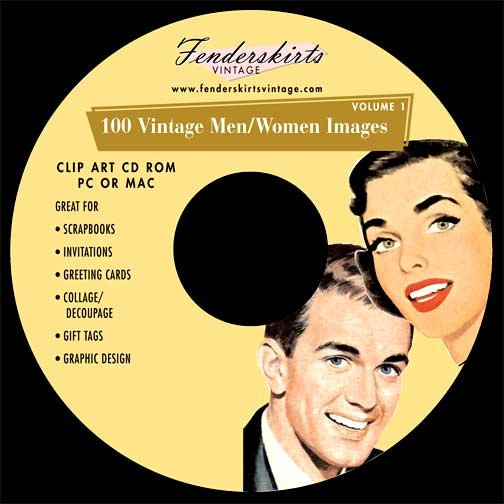 Vintage Retro 1950s Men/Women Images Clip Art CD