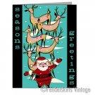 Vintage Repro 1950s Santa's Reindeer Christmas Cards