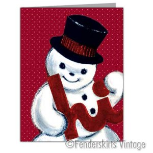 Vintage Repro 1950s Red Snowman Christmas Cards