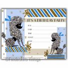 Vintage Retro Blue Poodle Birthday Party Invitations