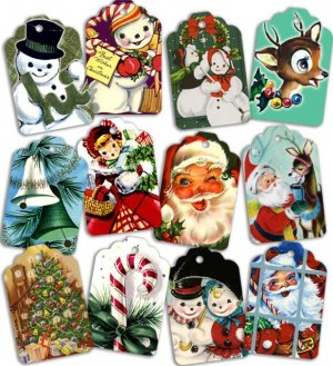 12 Vintage Repro 1950s Assorted Christmas Gift Tags-Big