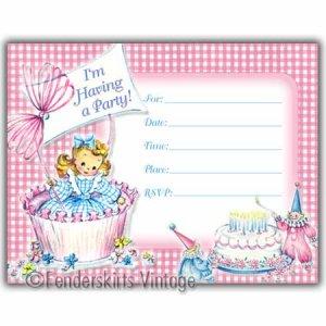 Vintage Retro Cupcake Girl Birthday Party Invitations